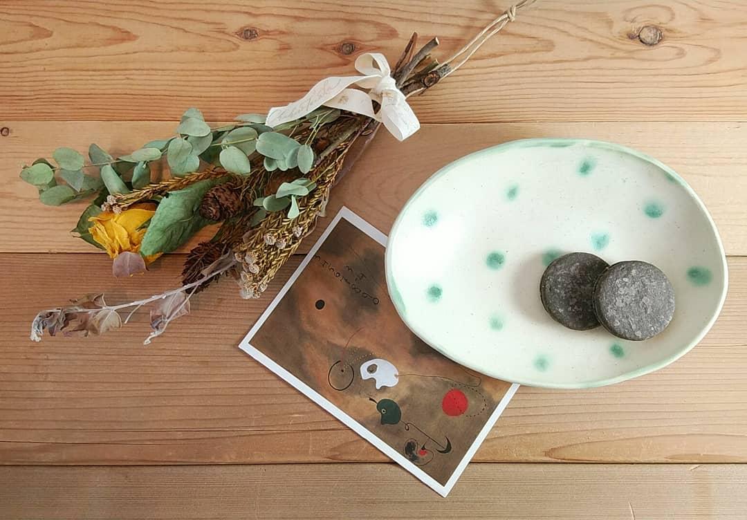 グリーンドット楕円皿